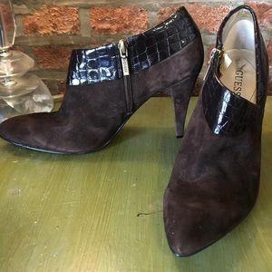 Guess Pointed Ankle Booties with Croc Embossment